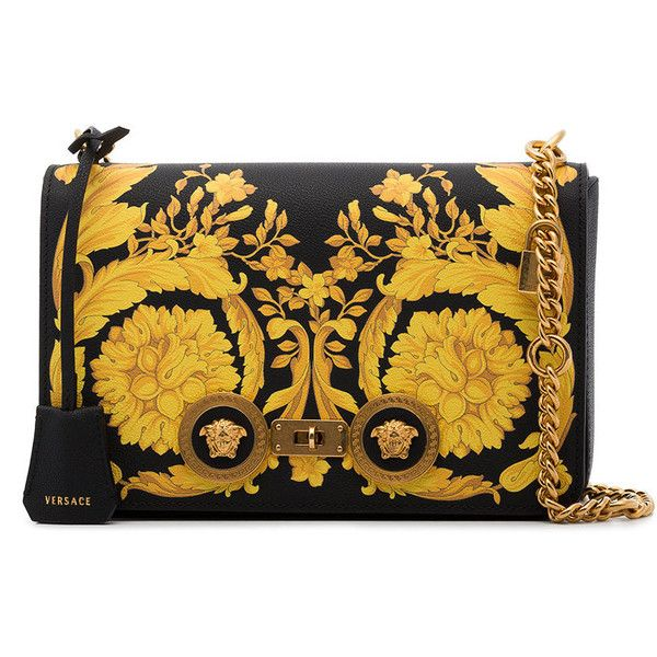 Versace baroque print leather shoulder bag (54.393.960 VND) ❤ liked on Polyvore featuring bags, handbags, shoulder bags, black, studded leather handbags, leather purses, versace purse, flap shoulder bag and genuine leather handbags