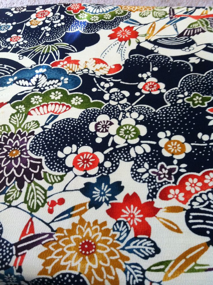 From my collection: vintage kimono fabric.......v This is one of my favorites.