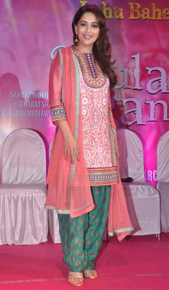 Madhuri Dixit in Printed Mehndi Green Patiyala Pyjama with Pink Round Neck Short Anarkali Kurti