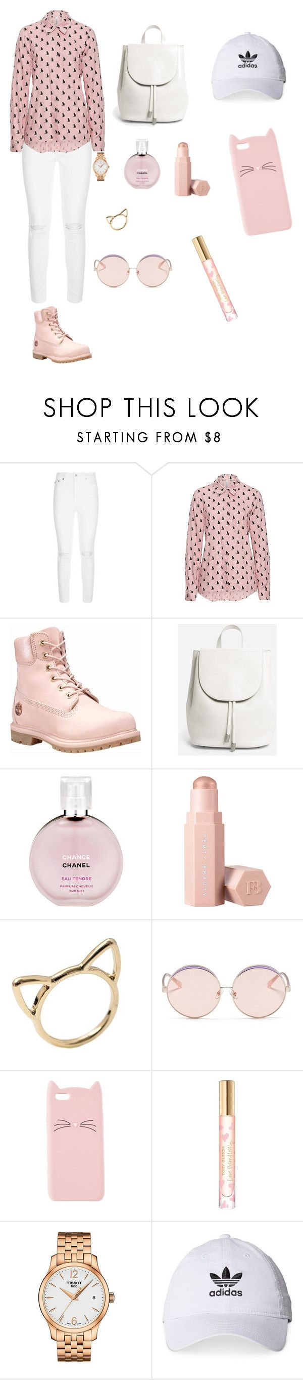 """""""tutto in rosa"""" by delialamela ❤ liked on Polyvore featuring AG Adriano Goldschmied, Timberland, Everlane, Chanel, Puma, N°21, Charlotte Russe, Tory Burch, Tissot and adidas"""