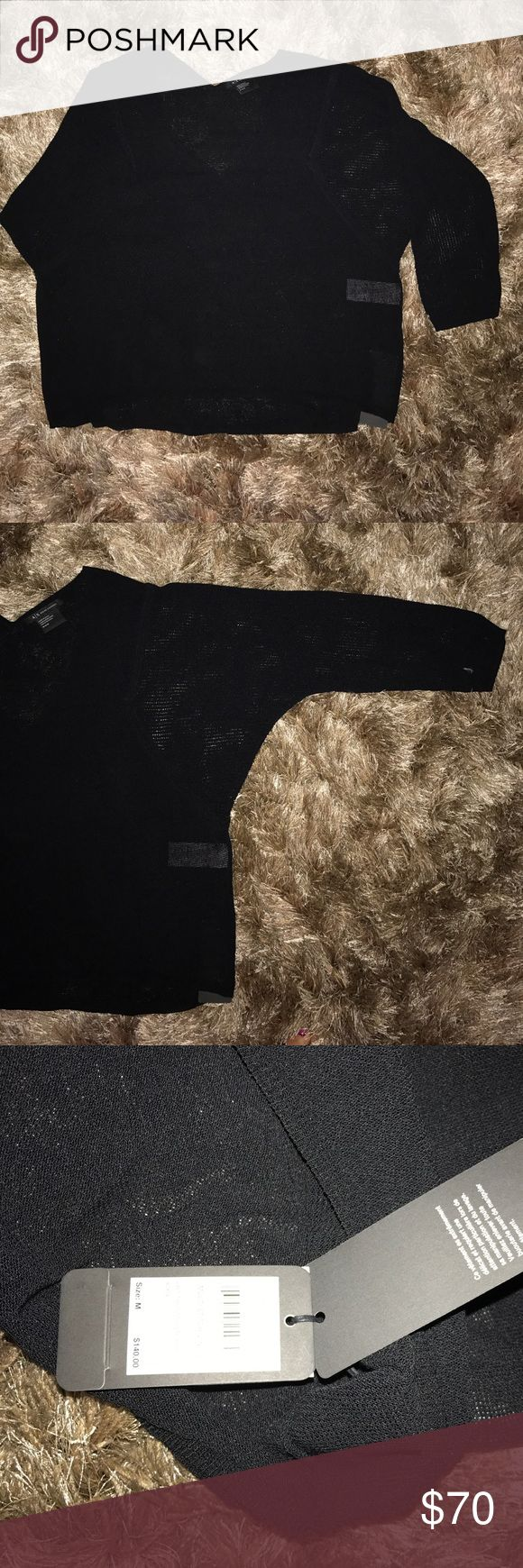 NWT A/X Armani Exchange black V-Neck Black multi stitch v-neck sweater that hangs loosely really nice. Stitching is slight sheer and has a classy look. 2 available in M. I also have one available in S in Black and another in S in white, so be sure to check my closet to see if they are still available.  Happy shopping Poshers! A/X Armani Exchange Sweaters V-Necks