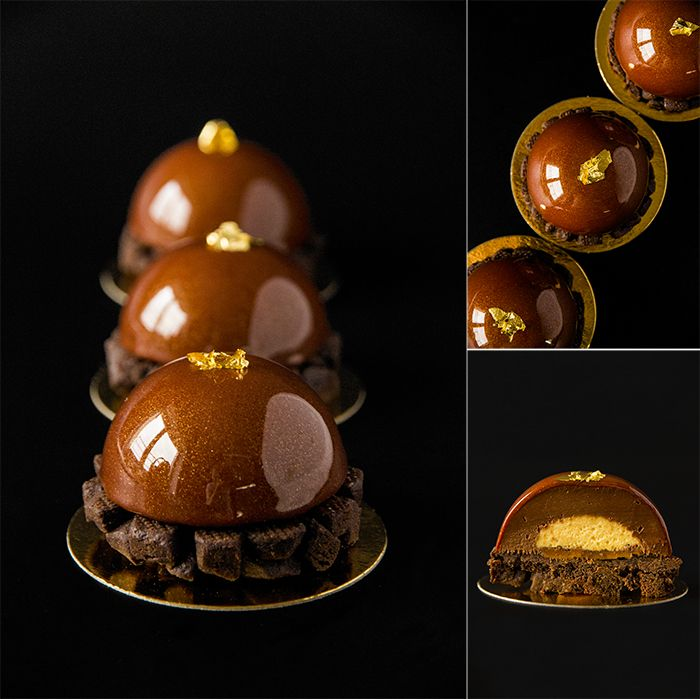 """Tartlets """"Gold dust"""": linzer chocolate pate sable with cinnamon; exotic cremeux with pepper espelette; exotic soft caramel and chocolate ganache with estragon."""