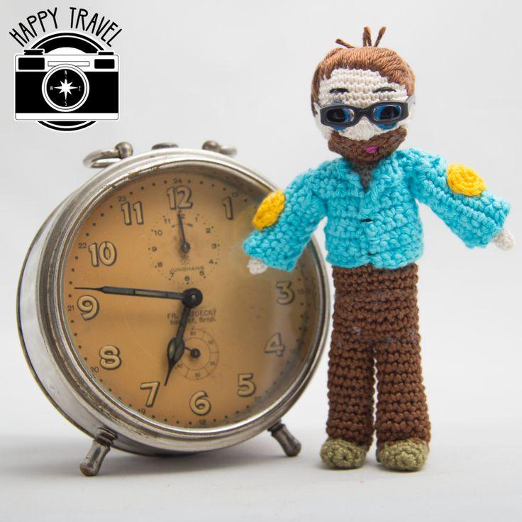 Travel toy - handmade crochet travel buddy, hipster style, hipster traveller, amigurumi doll, stuffed boy, traveler friend, travel the world by HappyTravel on Etsy