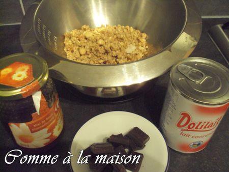céréales, chocolat noir, miel