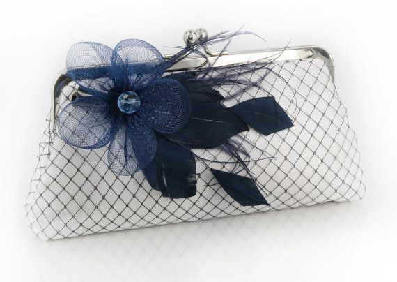 White Clutch with Navy Blue Feather Flower Fascinator 8 by ANGEEW, $70.00    possible option for the wedding? or you think this would take away from the dress?  my shoes are this color navy as well as my bridesmaid dresses