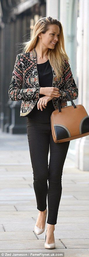 Petra Nemcova dresses her all-black ensemble with embellished jacket #dailymail
