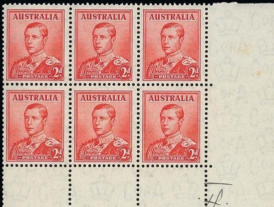 Шестиблок невыпущенной марки Австралии 1936 г. (Эдуард VIII, 2 п.) — £ 200 000 / Spink
