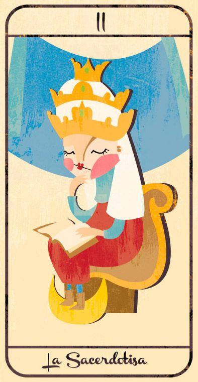 La Sacerdotisa: naipe de un Tarot infantil para niños pendiente de editar; La maqueta del mismo (un libro tutorial ilustrado cuya contraportada en forma de caja guarda en su interior las cartas) se puede visitar en el Museo del Tarot de Bélgica del coleccionista de Tarot Guido Gillabel. Autora Elena Catalán