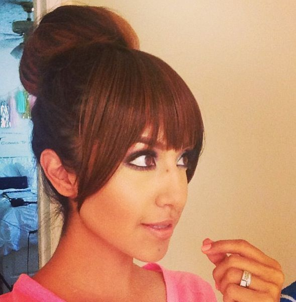 bun with bangs hairstyles : Donut bun with bangs.: Buns Styles, Buns With Bangs, Fringes Bangs ...