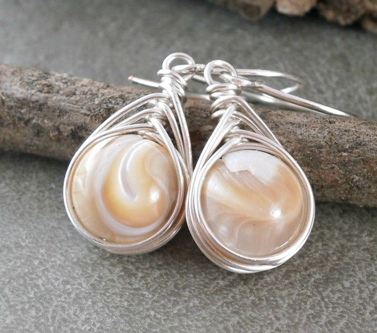 Sterling Silver Mother of Pearl Earrings Wire Wrapped Jewelry Handmade Herringbone Wrap Handcrafted Jewelry Unique Bridal Earrings Pearls by RuthAndJack on Etsy https://www.etsy.com/listing/234734686/sterling-silver-mother-of-pearl-earrings