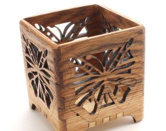 Círculos de sostenedor de vela votivo madera roble  madera