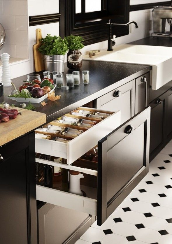 Scandinavian design is always functional and innovative. Loving these drawers inside drawers and totally customizable kitchen cabinets by IKEA's new SEKTION system.