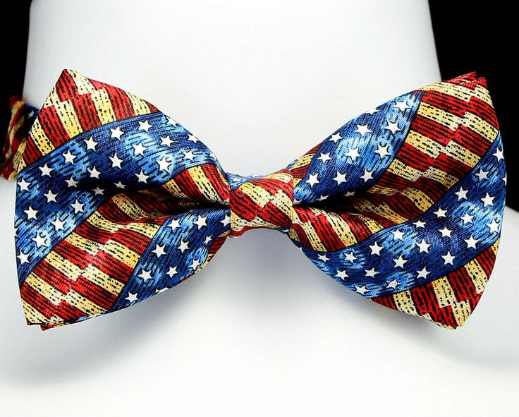 Antique American Flag Mens Bow Tie Tuxedo Adjustable Fashion Gift Bowtie New #TiesJustForYou #BowTie
