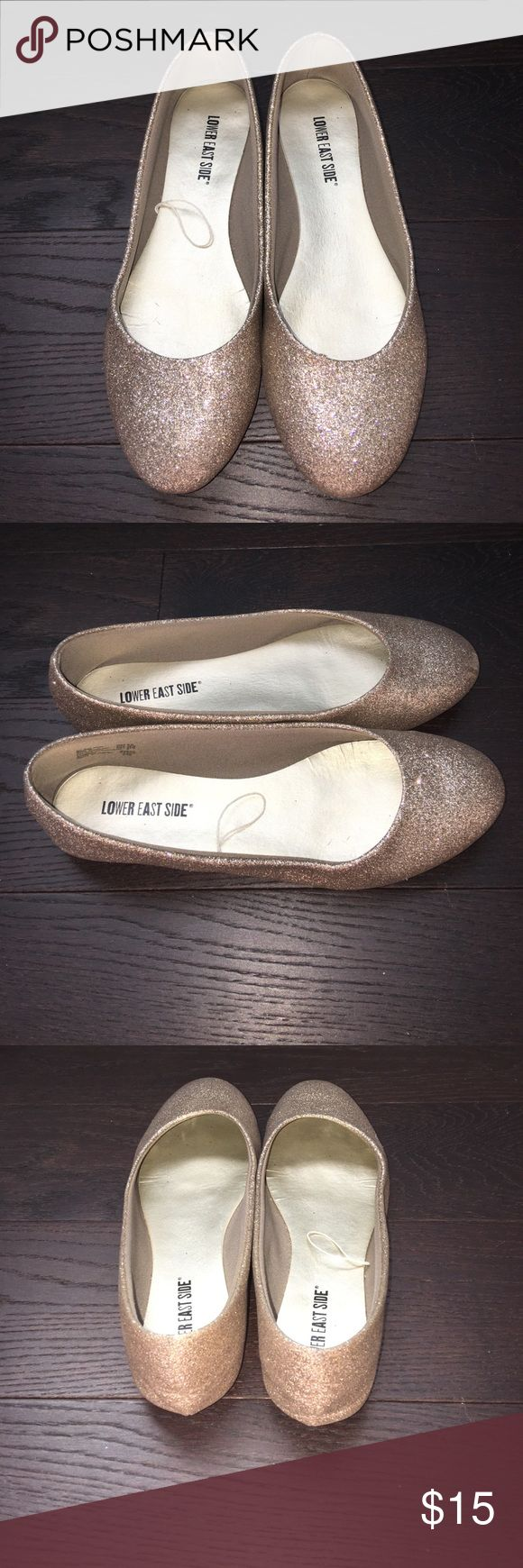 Gold Sparkle Flats. Size 8.5. Gently used gold sparkle flats. Size 8.5. lower east side Shoes Flats & Loafers