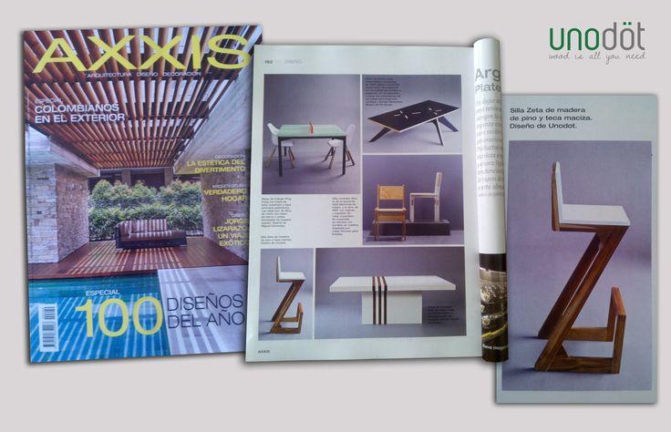 Nuestra silla Zeta en los 100 diseños del año de la revista AXXIS.  Noviembre de 2013.