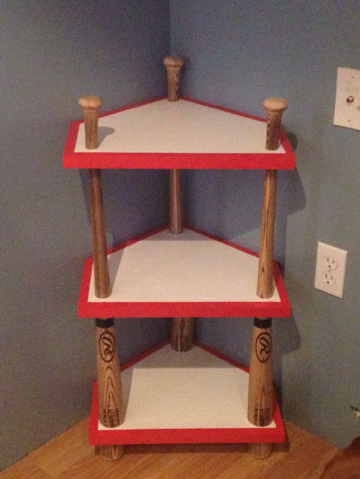 Baseball Bat, Home Plate Corner Stand,  Baseball Themed Room, Home Decor, Night Stand, End Table, Man Cave by NewportCustomWood on Etsy https://www.etsy.com/listing/226188443/baseball-bat-home-plate-corner-stand