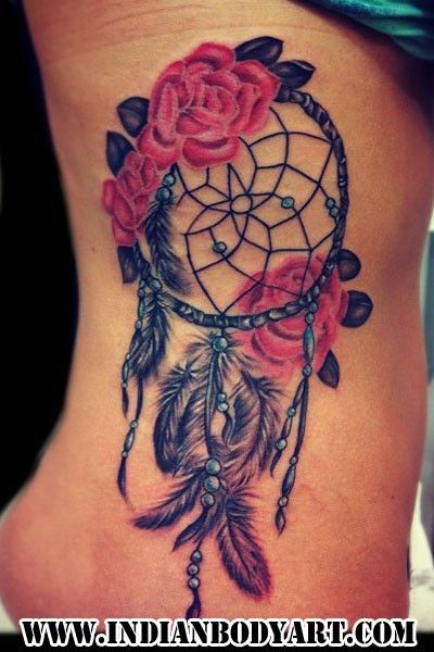 Splendid Rose Dreamcatcher Watercolor Tattoo on Rib