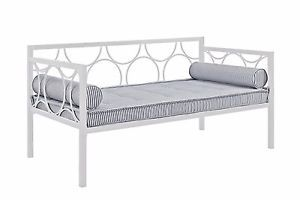 Modern Daybed Frame Twin Size Bed White Living Room Furniture Metal Futon Guest