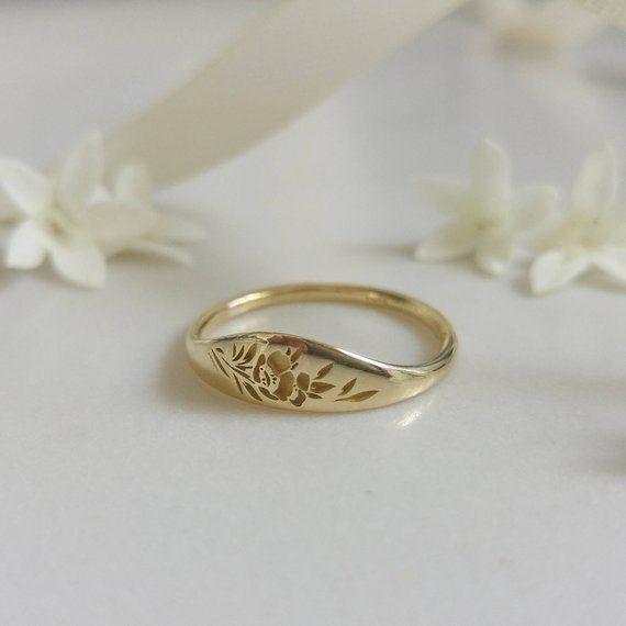 Goldene Blume Siegelring, Vintage-Stil floral Krone Ring für Frauen, einzigartige Gold Hochzeitsring, 14 k gold Hochzeitsband, Blume Hochzeitsband