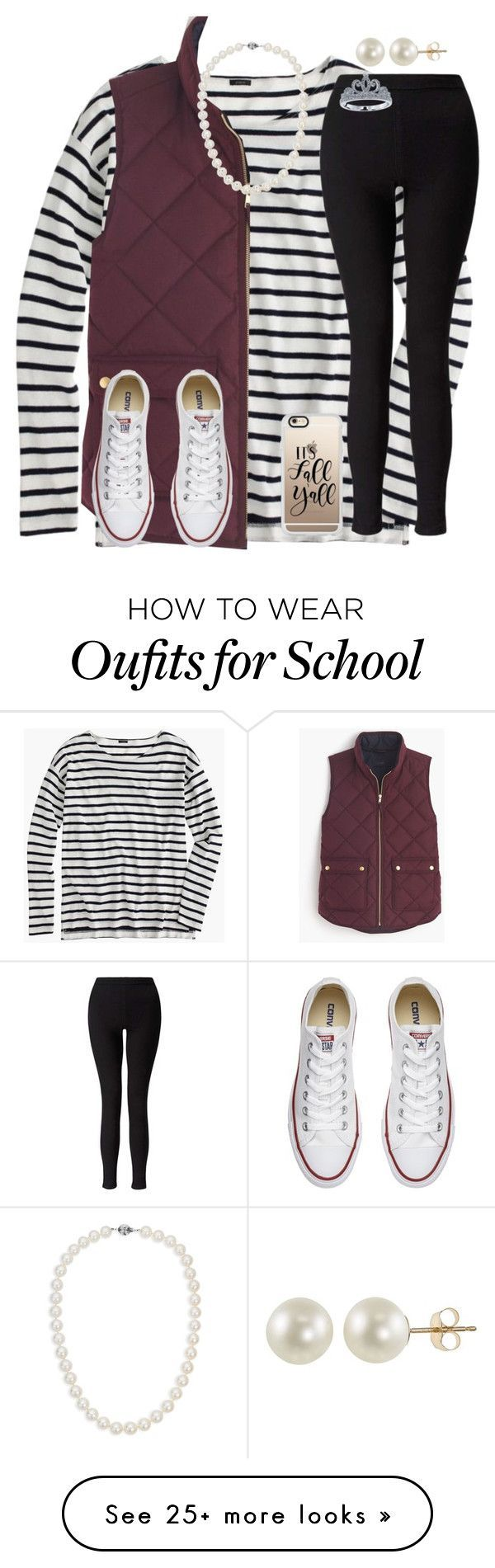 """Day 1- School Festival"" by mimichavi on Polyvore featuring J.Crew, Miss Selfridge, Converse, Blue Nile, PearLustre by Imperial, Casetify, Disney and kennshalloweencontest"