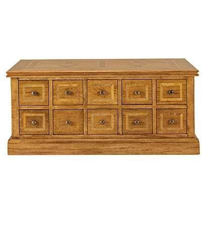 Malabar 10 drawer coffee table, solid mango with marble inlays