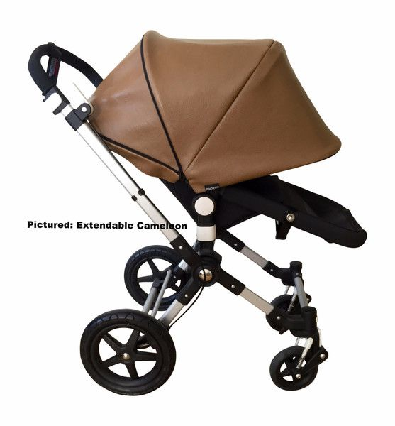 Faux brown leather Sun Canopy/ Hood for your Bugaboo Cameleon, Cameleon3, Bee, Bee Plus, Bee3, Buffalo, Donkey, Frog, Babyzen Yoyo by emaSema. Great baby shower gift!