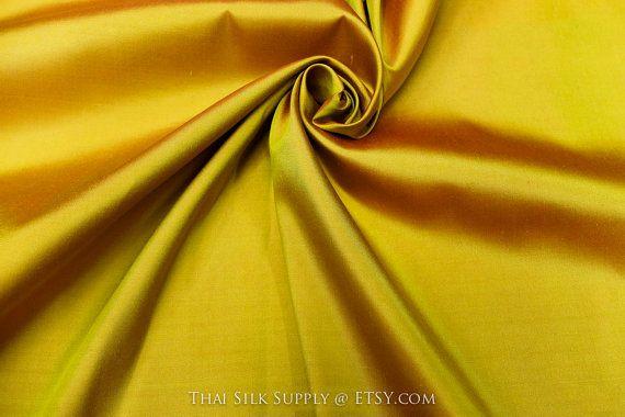 Golden Silk Fabric Pure Silk Fabric Soft Silk by ThaiSilkSupply