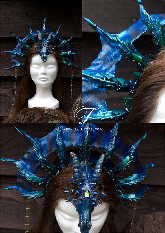 Hey, I found this really awesome Etsy listing at https://www.etsy.com/listing/202081658/dragon-headdress-more-bluegreen-with