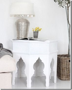 White Moroccan Side Table