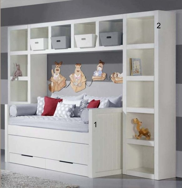 Double nest bed with drawers, white lacquered - AQ INTERIORES