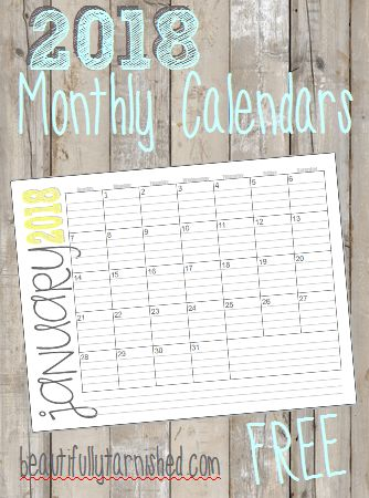 2018 Monthly Landscape Calendars FREE   Beautifully Tarnished