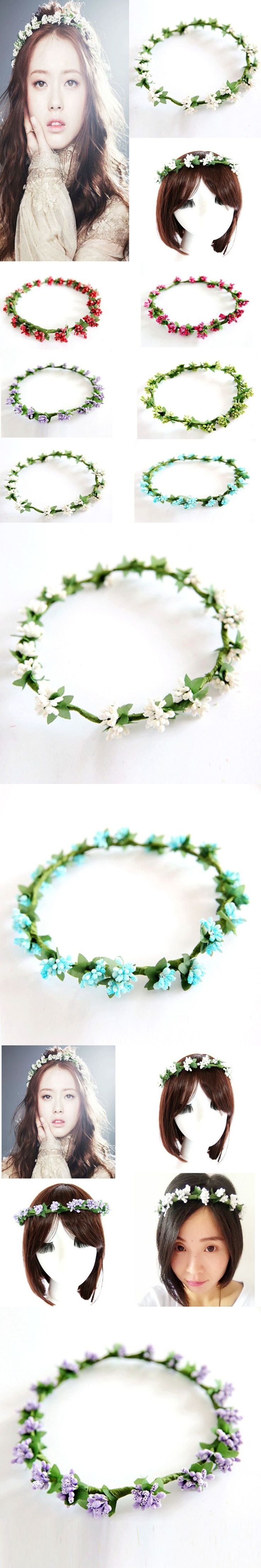 Wholesale Floral Flower Fruit Crown Headband Festival Holiday Bohemia Garland Hairband
