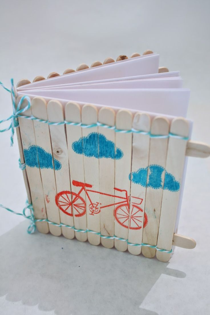 Popsicle stick notebook - really easy to make, and use these giant lollypop…