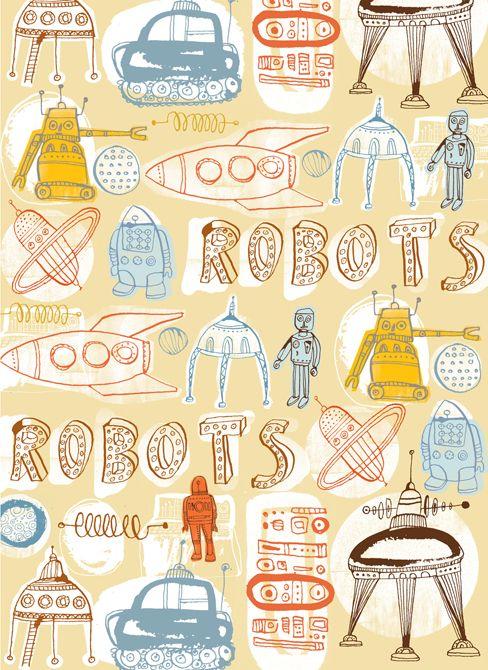 doodle robot inspiration #colors #collage #font