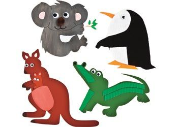 Australian Animals Paper Shapes. Pack contains 5 of each of the 4 designs including a penguin, a kangaroo, a koala and a crocodile.