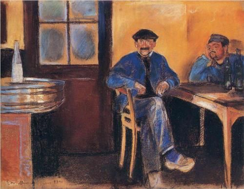 Tavern in St. Cloud - Edvard Munch 1890. This is the typical Euro Tavern - Munch tells a timeless truth!
