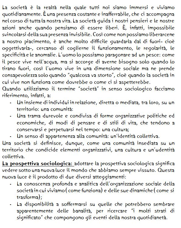 Sociologia- la società- la prospettiva sociologica-