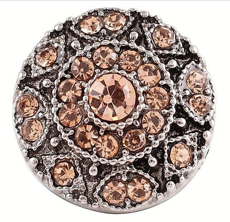 Silver Brown Rhinestone 20mm Snap Charm For Ginger Snaps Magnolia Vine