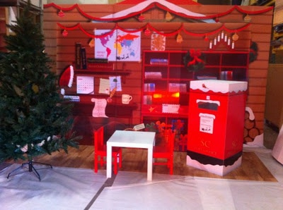 Santa mail (tall cardboard box). Letters to Santa, Christmas tree, each of us is an elf. Decorate each cube as part of a workshop. Empty cubes can be used as 1. a mailroom and 2. location for tree.