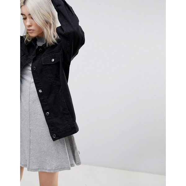 Cheap Monday Upsize Denim Jacket (€41) ❤ liked on Polyvore featuring outerwear, jackets, black, cheap monday, stretch denim jacket, oversized jacket, cheap monday jacket and oversized denim jackets