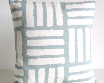 Geometric Pillow Cover, Scandinavian Cushion Cover, Pillow Sham, Throw Pillow Cover, Pillowcase, Pillow Case - 4 Bars Duck Egg