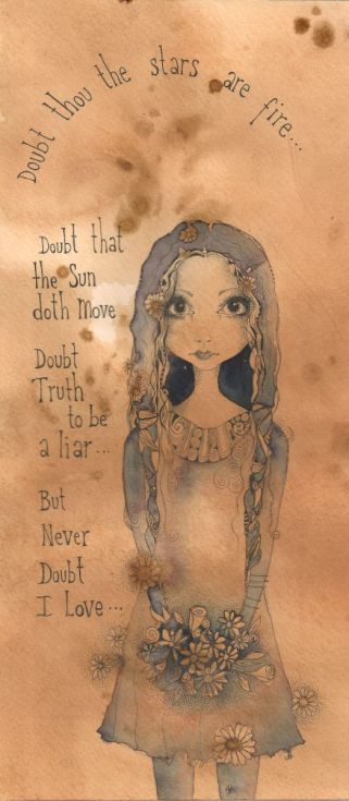ARTFINDER: Never Doubt I Love by Jilly  Henderson - 'Never Doubt I Love...' is an original drawing on hand stained paper draw in in pencil and inks measuring 132mm x 292 mm in size. This delightful study take...