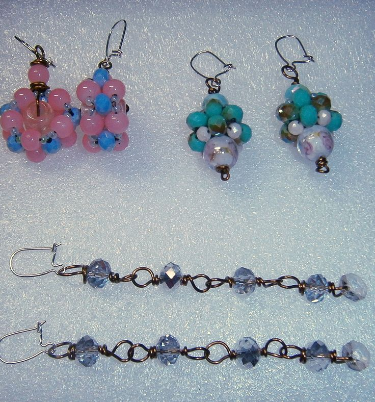 New earrings by Sophiecadesigns #crystal #pink #blue #turquoise #handmade #jewelry