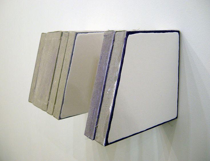 Finbar Ward Title:Untitled (Template)Year:2016Medium:Enamel, cobalt violet oil, linen, wood and staplesSize:21 x 39 x 22 cm