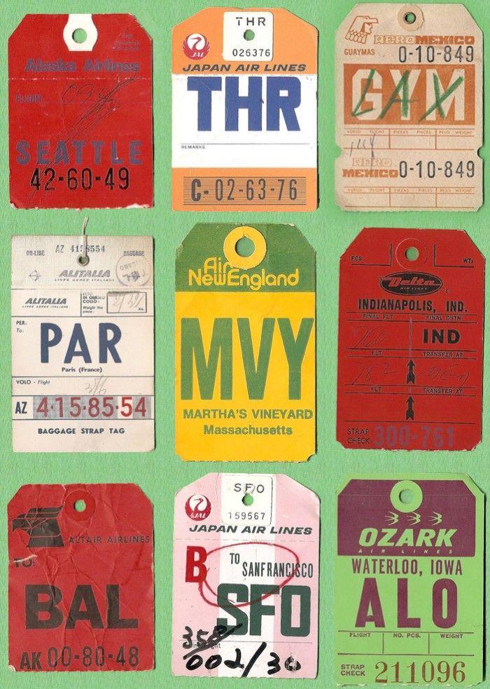 Vintage U.S Airline Baggage Tickets   Vintage Inspiration graphics