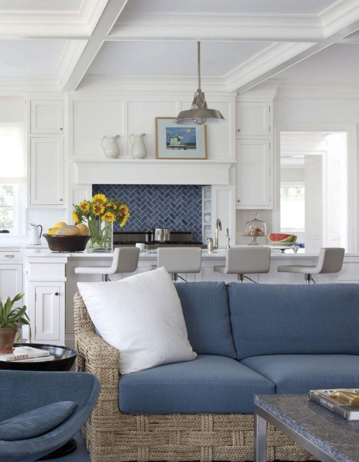Classic beach house decor by Vincente Wolfe. Love the blue chevron back splash.