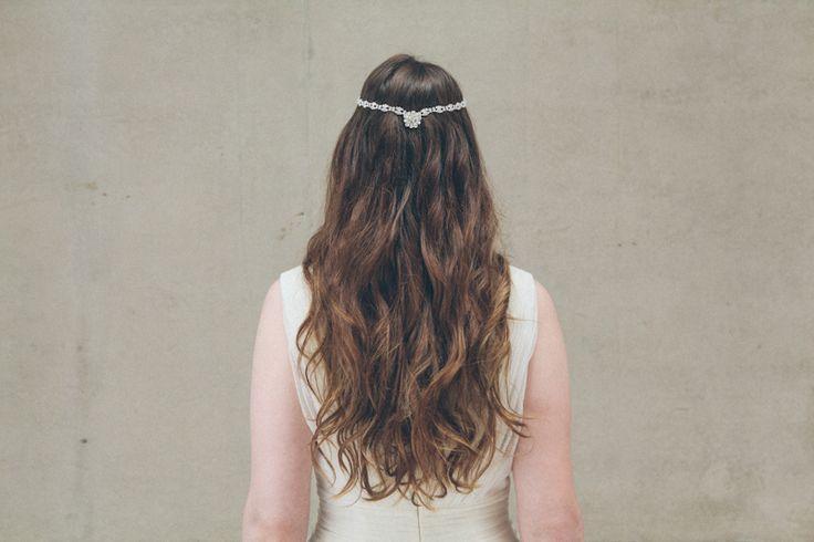 'Darcey' halo jewel diamante chain wedding forehead band by Debbie Carlisle with bohemian wavy hair (www.dcbouquets.co.uk)