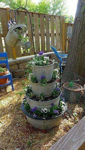 Watering can on shephards hook idea