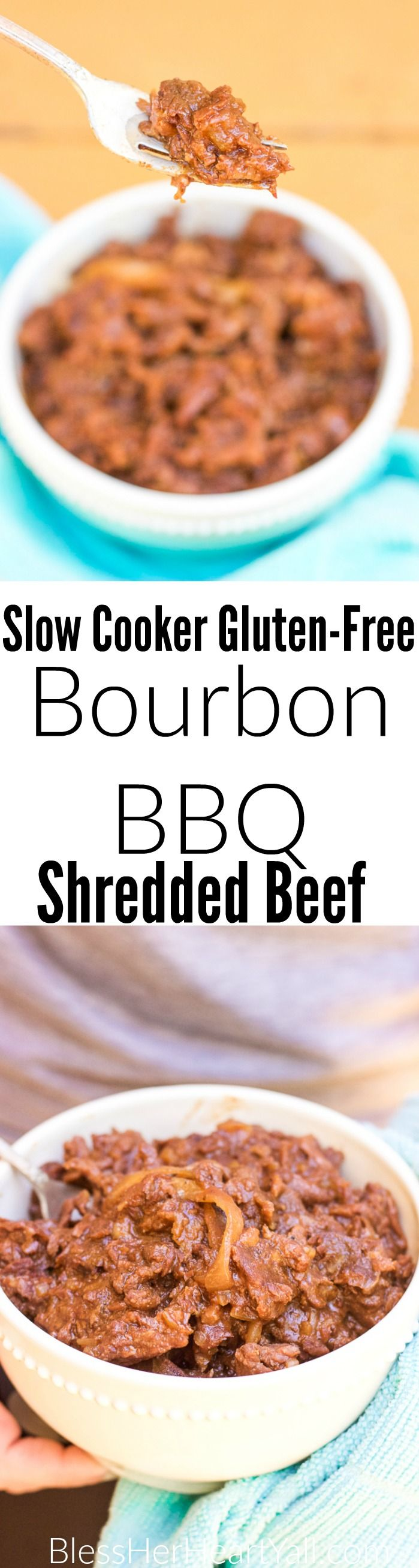 This gluten-free bourbon bbq shredded beef recipe is a magical combination of juicy beef in a garlic and onion barbecue sauce, placed in your slow cooker along with a dash of bourbon, and ready for your enjoyment after a busy day!