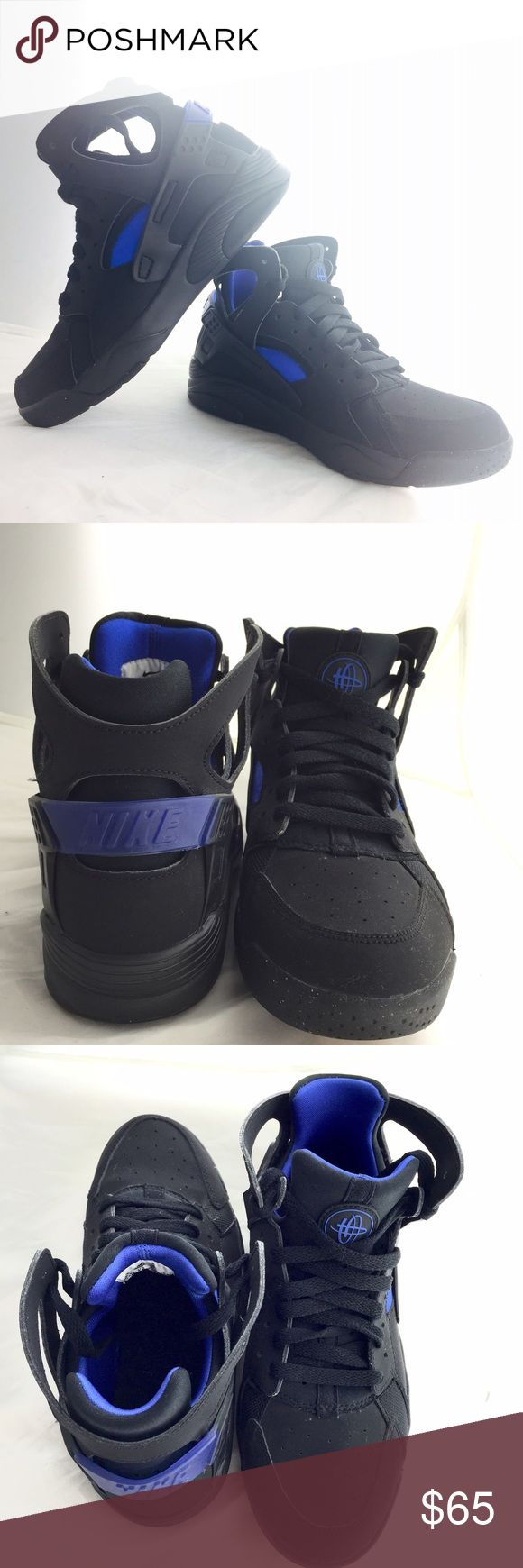 Black&Blue High Top Nike Huaraches These are a US Boys 6Y, I wear a US 7 women's sneakers and these fit perfectly. Barely worn, no scuffs or marks. Nike Shoes Sneakers